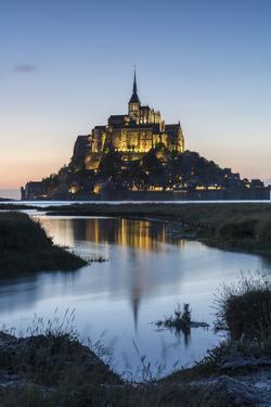 Tide growing at dusk, Mont-Saint-Michel, UNESCO World Heritage Site, Normandy, France, Europe by Francesco Vaninetti