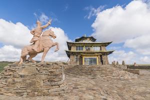 Tsorjiin Khureenii temple and Genghis Khan statue, Middle Gobi province, Mongolia, Central Asia, As by Francesco Vaninetti