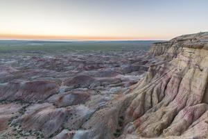 White Stupa sedimentary rock formations at dusk, Ulziit, Middle Gobi province, Mongolia, Central As by Francesco Vaninetti