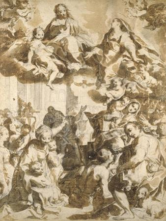 The Madonna Del Popolo, after Barocci (Black Chalk with Brownish Wash on Beige Paper)