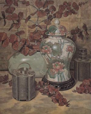 Eucalyptus with Lotus Vase by Francie Botke