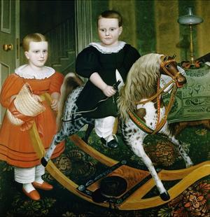 19th-Century American Painting of The Hobby Horse by Francis G. Mayer