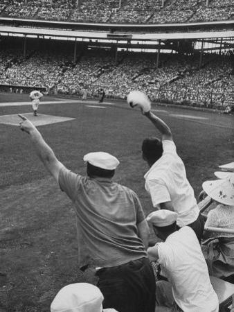 Fans Cheering at Milwaukee Braves Home Stadium During Game with Ny Giants by Francis Miller