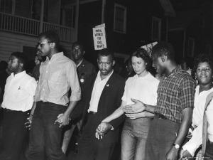Future Congressman John Lewis Linking Hands with Fellow Civil Rights Activists in Protest March by Francis Miller