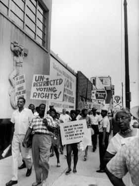 Negro Demonstration for Strong Civil Right Plank Outside Gop Convention Hall by Francis Miller