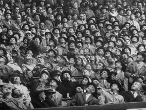 Opening Day of Baseball, Crowd Watching as Ball Flies Overhead by Francis Miller