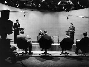 Presidential Candidates Senator John Kennedy and Rep. Richard Nixon Standing at Lecterns Debating by Francis Miller