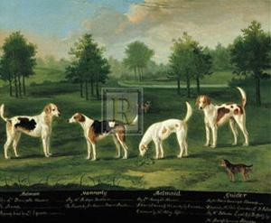 Two Couples of Hounds in a Park by Francis Sartorius