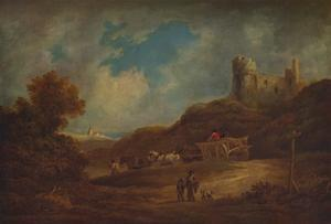A Castle, with Waggon and Horses', c1886, (1938) by Francis Towne