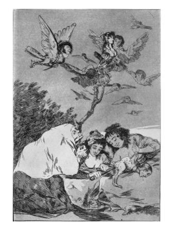 193-0082119 All Will Fall, Plate 19 of 'Los Caprichos', Pub. 1799 by Francisco de Goya