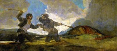 Duel with Cudgels, One of the Black Paintings from the Quinta Del Sordo, Goya's House, 1819-1823