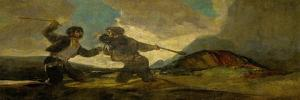 Duel with Cudgels, One of the Black Paintings from the Quinta Del Sordo, Goya's House, 1819-1823 by Francisco de Goya