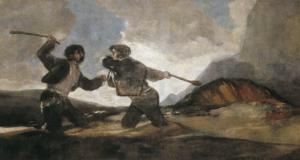 Duel with Cudgels by Francisco de Goya