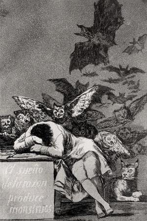 """The Sleep of Reason Produces Monsters, from """"Los Caprichos"""" by Francisco de Goya"""