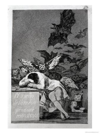 """The Sleep of Reason Produces Monsters, Plate 43 of """"Los Caprichos,"""" 1799 by Francisco de Goya"""