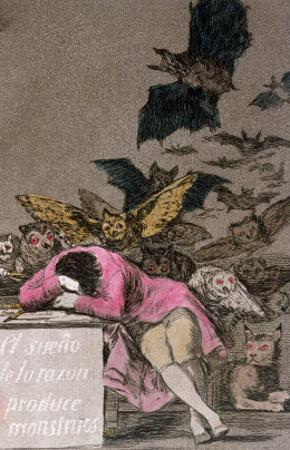 """The Sleep of Reason Produces Monsters, Plate 43 of """"Los Caprichos,"""" Published circa 1810"""