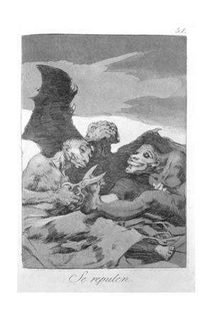 They Spruce Themselves Up, Plate 51 of 'Los Caprichos', 1799 by Francisco de Goya