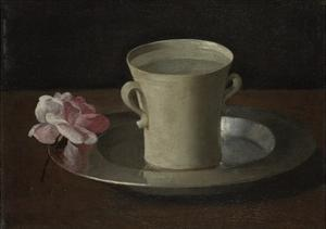 A Cup of Water and a Rose, C.1630 by Francisco de Zurbarán