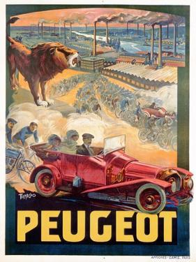 Advertisement for Peugeot, Printed by Affiches Camis, Paris, c.1922 by Francisco Tamagno