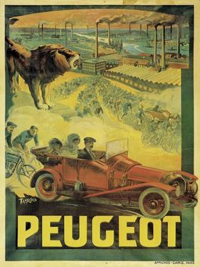 Poster Advertising Peugeot Cars, c.1908 by Francisco Tamagno