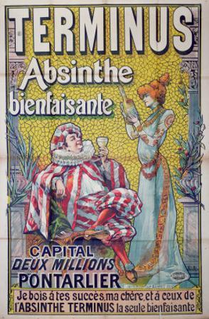 Poster advertising 'Terminus' absinthe, starring Sarah Bernhardt and Constant Coquelin