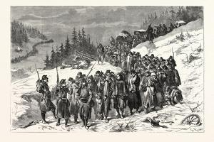 Franco-Prussian War: French Soldiers Escorted by Swiss Military in the Jura the 3 February 1871