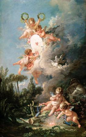 "Cupid's Target, from ""Les Amours Des Dieux,"" 1758 by Francois Boucher"