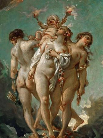 The Three Graces Holding Cupid by François Boucher