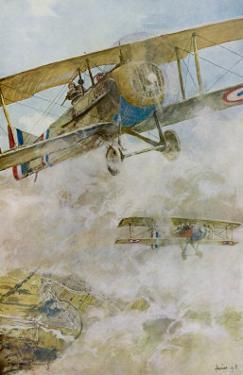 French Spad Aircraft on Patrol by Francois Flameng