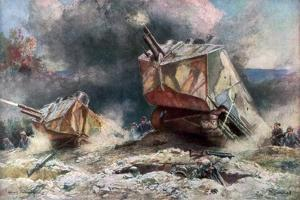 French Tank Assault, July 1918 by Francois Flameng