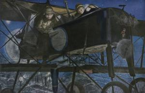 "French ""Voisin"" Bomber Carries out a Night Raid by Francois Flameng"