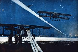 Returning from Night Flight, Simulated Bombing, 1918 by Francois Flameng