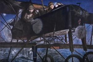 With the French Air Service, a Night Bombardment by a Voisin Biplane, 1918 by Francois Flameng