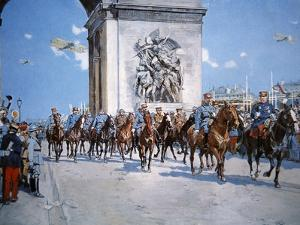 WWI Victory Parade Passing Through the Arc De Triomphe Led by French Marshals Joffre and Foch by Francois Flameng