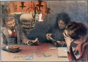 A Game of Cards, C1899 by Francois Joseph Guiguet