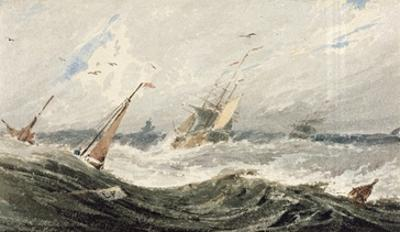 Boats on a Stormy Sea (W/C over Graphite on Wove Paper)