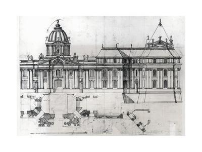 Architectural Drawing and Plan, Detail from Drawing for Louvre, 1664