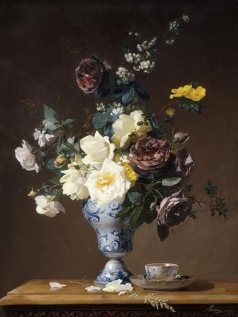 Roses and Other Flowers in a Blue and White Vase and a Teacup on a Ledge, 1876