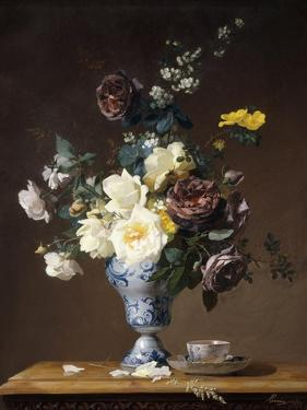 Roses and Other Flowers in a Blue and White Vase and a Teacup on a Ledge, 1876 by Francois Rivoire