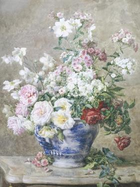 Still Life of Anemones and Roses in a Blue and White Vase by Francois Rivoire
