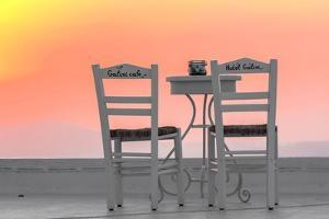Chairs of the Café of the Hotel Galini in Firostefani, Santorini, Greece by Françoise Gaujour