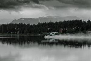 Hydroplane Taking Off in Homer Split, Homer, Alaska by Françoise Gaujour