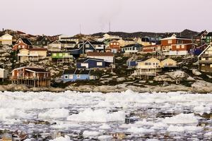 Village of Ilulissat as Seen from the Pack Ice, Disko Bay, Greenland by Françoise Gaujour