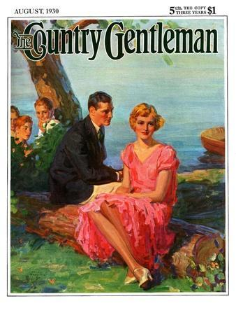 """""""Boys Eavesdropping on Courting Couple,"""" Country Gentleman Cover, August 1, 1930"""