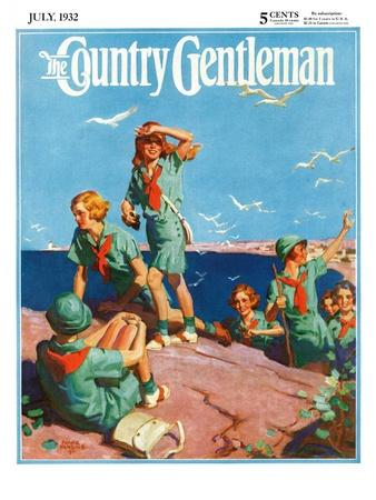 """""""Girl Scouts at Sea Shore,"""" Country Gentleman Cover, July 1, 1932"""