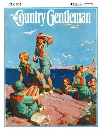 """Girl Scouts at Sea Shore,"" Country Gentleman Cover, July 1, 1932 by Frank Bensing"