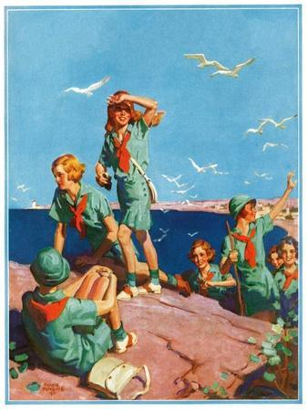 """""""Girl Scouts at Sea Shore,""""July 1, 1932"""