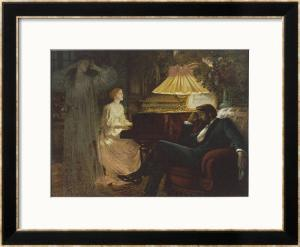 In a Reverie Induced by His Wife Playing the Piano He Hallucinates the Girl He Didn't Marry by Frank Bernard Dicksee