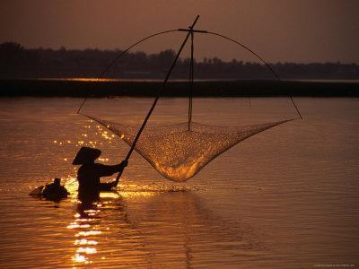Dip Net Shrimp Fishing in Mekong River, Vientiane, Laos