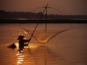 Dip Net Shrimp Fishing in Mekong River, Vientiane, Laos by Frank Carter